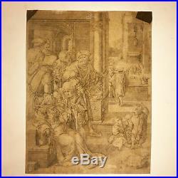 1525 LUCAS VAN LEYDEN Très rare gravure The Poet Virgil Suspended in a Basket
