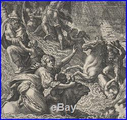 1583 Rare gravure Johan Sadeler Le début du déluge Genèse Maarten De Voos Bible