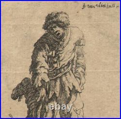 1632 Rare gravure Jan Georg van Vliet Mendiant avec une jambe de bois Baroque