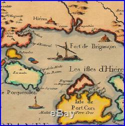 1640 Rare Carte gravure Côte Provence Porquerolles Toulon Hyères îles N. Tassin