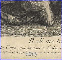 1729 Eau-forte Nicolas-Henri Tardieu Rare gravure Jésus Christ Marie Madeleine