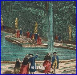 1760 Rare gravure aquarellée Vue de Cascade de Saint-Cloud Vue d'optique Paris