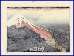 1910 estampe japonaise HOKUSAI Mt. Fuji & Ascending Dragon typhon