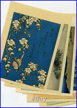 1910 estampe japonaise HOKUSAI Mt Fuji Fugaku Hyakkei X 6 fleurs et oiseaux
