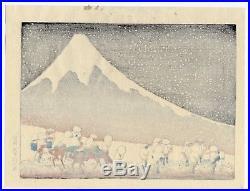 1910 estampe japonaise HOKUSAI Mt. Fuji l'hiver une tempête de neige