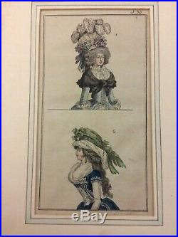 3 gravures de mode 18 eme aquarellées sur le thème des chapeaux et des coiffes