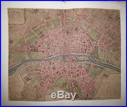 8 Plans de Paris, gravés sur cuivre et colorisés Nicolas de Fer 1705 Delamarre