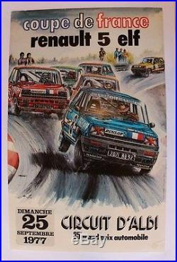 AFFICHE ORIGINALE ANCIENNE RENAULT 5 COUPE FRANCE ELF sept 1977 ALBI BOIVENT