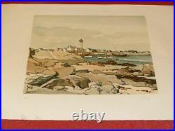 ART XXe ROBERT YAN BELLE LITHOGRAPHIE ORIGINALE SIGNEE Port Phare Bretagne