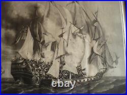 A. Garneray Prise du Kent par la Confiance Aquatinte XIXème Combat naval Marine