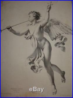 A. JULLIEN (1819-1887) GRANDE LITHO ETUDE HOMME NU CORPS ANGE DESSIN 1850 gay int