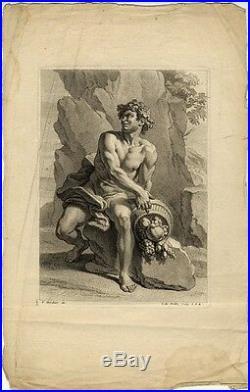 Académie Nu Abondance Francois Verdier Gravure De Poilly XVIIe