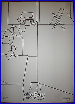 Adami Valerio Lithographie originale signée abstrait figuration narrative Italie