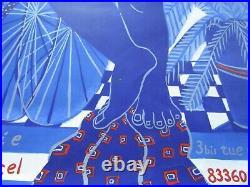 Alexandre Fassianos / Nu bleu à l'écharpe / Affiche lithographique en couleur