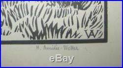 Amédée WETTER (Bergère et son troupeau) Gravure sur bois SIGNEE et NUMEROTEE