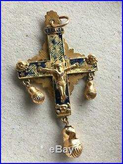 Ancienne croix du puy en velay en or et émail XIX