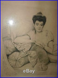 Aristocrate Russe  Portrait De Femme Gravure Estampe Par Jean Coraboeuf 1905