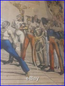 Armée Française 1834 Brevet De Pointe (escrime) Brevet Aquarellé D'époque