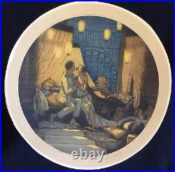 Art nouveau grande estampe ronde les amants signé GEORGES PIERRE GUINEGAUL