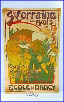 Auguste Vallin exposition de lécole de Nancy lithographie affiche Art nouveau