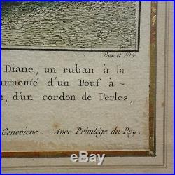 BELLE GRAVURE MODE XVIII BASSET d'après MEUSNIER chez BASSET RUE St JACQUES