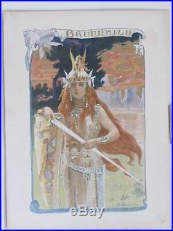 BRUNNHILD lithographie couleurs de Gaston BUSSIÈRE 1897 Symbolisme Art Nouveau