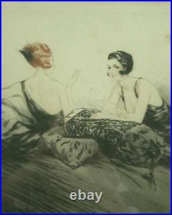 Belle Lithographie Art Deco 2 Elegantes Garconnes Fumant Signee Hardy Gout Icart