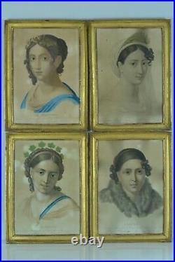 Belle série ancienne Gravures 4 saisons Cadre Infroit Empire portrait LEMIRE 19e