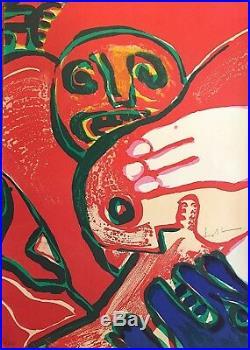 Bengt Lindstrom Lithographie signée 1976 abstraction art abstrait COBRA Fellini