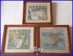 Bernard Boutet De Monvel 3 Gravures Originales Aquarelles Scènes Mondaines +++