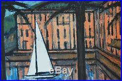 Bernard Buffet Le port de Beaulieu 1957 Lithographie coloriée à la main