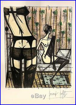 Bernard Buffet Lithographie originale signée femmes jeux érotic Anabelle