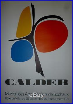 CALDER affiche originale lithographie 1971 art abstrait mobile Arts Sochaux