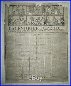 CALENDRIER IMPERIAL de l'EMPIRE Français de 1809 Dubuc Imp. ROUEN LECRÊNE-LABBEY