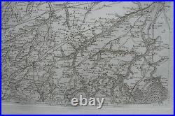 CASSINI CARTE IN PLANO 630mm X 950 mm, 1808, CAEN BAYEUX COUTANCES ST LO, n°94,6E