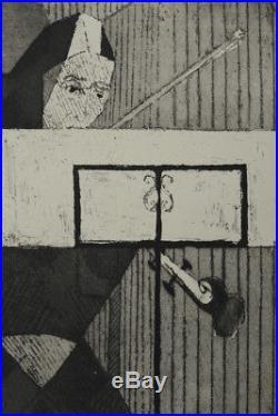 CHRISTIAN D'ESPIC RARE GRAVURE CUBISTE LA VIOLONISTE VILLON DEDICACE 1952 rare