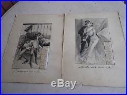 Calendrier 1900 Scenes Erotiques Curiosa Estampe Rehaussee Gouache Annonay