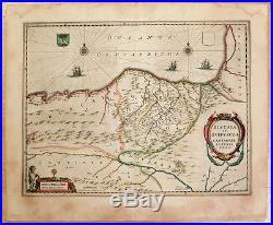 Carte c1650 JANSSONIUS folio map couleur BISCAYE GUIPUSCOA Pays Basque Bilbao 81