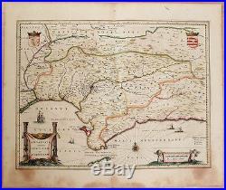 Carte Geographique Andalousie.Carte C1650 Janssonius Folio Map Couleurs Andalousie Andalucia