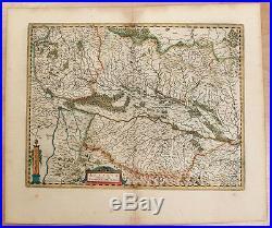 Carte c1650 JANSSONIUS in-folio map couleurs ALSACE Sundgau Brisgau Colmar 79