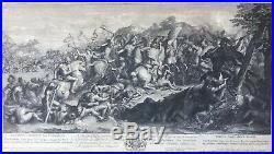 Charles LE BRUN 17e (daprès). Le passage du Granique. G. Audran, graveur. Burin. 25x5