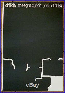 Chillida Affiche originale lithographie 1981 art abstrait abstraction Sculpture