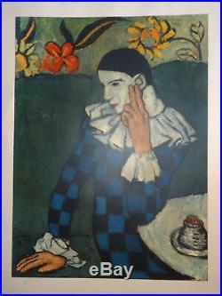 D'après Pablo PICASSO (1881-1973) BELLE LITHO OFFSET PORTRAIT ARLEQUIN AU CAFE