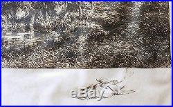 ENGRAVING GRAVURE de CHARLES JACQUE L'ABREUVOIR AUX MOUTONS de 1888