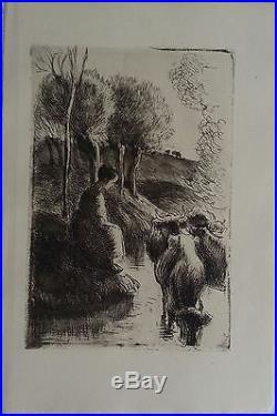 Eau forte de de Camille Pissarro Vachère au bord de l'eau