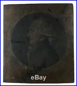 Edme QUENEDEY Rare plaque de cuivre Portrait d'homme au physionotrace c. 1800