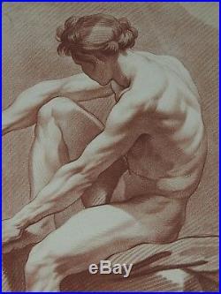 Estampe In Folio Maniere De Crayon Homme Nu Profil Ed. Bouchardon L. M. Bonnet