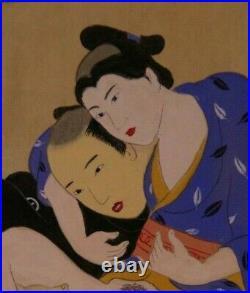 Estampe Japonaise SHUNGA GAY curiosa Erotique peinte à la main fin 19 ème siècle