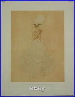 Estampe décorative, litho Raphaël Kirchner. Le monde entier embrasse 2 hémisphères