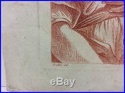 Estampe façon sanguine gravée par Auvray d'après un dessin de Le Clerc XVIIIe